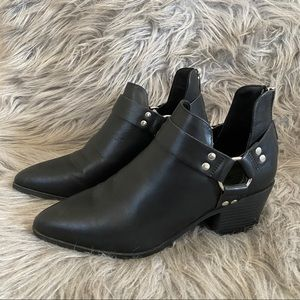 black boots with open ankle